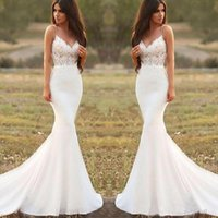 Country Mermaid Wedding Dresses Spaghetti Backless Sweep Train Appliques Illusion Bodice Long Beach Garden Country Bridal Gowns