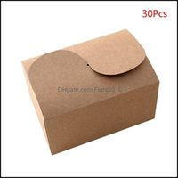 Evento de regalo Suministros festivos Home GardEngift Wrap 30pcs / set Natural Kraft Paper Cake Cake Party Packing Biscuit Cookie Candy Packaging Cajas