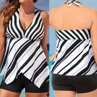 Women's Swimwear 2021 Plus Large Size Bikinis Bathing Swimming Suits Beachwear Famale Sexy Biquini Wear Women Swimsuit Stripe One Piece Dres