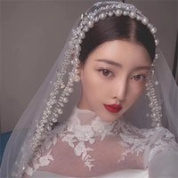 Wedding Veils with Pearls Trim Lace White Ivory Tulle Crystal Bridal Veil Fingertip Length Events Formal luxury veil