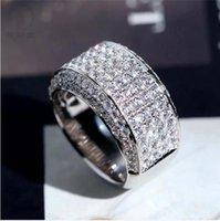 2021 Pedras de Hip Hop Geladas para fora Micro Pave CZ Pedra Tênis Anel Homens Mulheres Charme Luxo Com Side StonesJewelry Cristal Zircon Diamante Ouro Prata Casamento Banhado