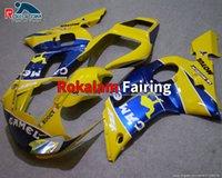 Feedings para Yamaha YZF R6 98 99 00 01 02 YZF600 R6 1998-2002 Amarelo Azul Aftermarket Body Kit (moldagem por injeção)