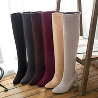 Boots 2021 Block 8.5cm High Heels Women Fetish Over The Knee Plus Size 33 44 45 46 Warm Winter Long Thigh Booties Burgundy Shoes