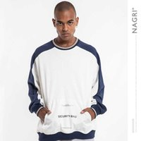 Nagri fashion men's clothing autumn winter 2019 new round neck bottoming loose patchwork color matching men's sweater