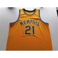668668Rare Basketball Jersey Männer Jugend Frauen Vintage Navy Blue Larry Finch Gelb Größe S-5XL Benutzerdefinierte Name oder Nummer