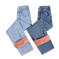 Femmes jeans pour la mode droite jambe droite hiver hiver toison épais denim pantalon lâche taille haute taille femme jean wj125 femmes