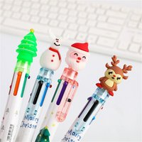 Ballpoint Pens 6 10 Color Cute Cartoon Christmas Pen Oil For Student Multi 0.5MM Handwriting Gifts