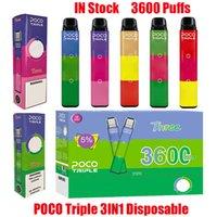 Orijinal POCO Üçlü Tek Kullanımlık Cihaz E-Sigaralar Kiti 3600 Puffs Şarj Edilebilir Pil 3 in 1 Tercihli Kartuş Pods Vape Sopa Kalem VS Hava Bar Max 100% Otantik