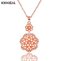 Pendant Necklaces KIOOZOL Elegant Hollow Flower Rose Gold Silver Color Choker Necklace For Women Wedding Party Jewelry 777 KO2