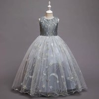 Girls Dresses Children Clothes Princess Long Kids Dress Star Mesh Show Embroidery Birthday Party Formal Child Clothing B7452