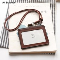 Card Holders Luxury Cross Office Identity Badge Holder First Layer Cow Leather Top Quality Luggage Tag ID Bus Case Neck Lanyard Keychain