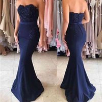 Elegant 2021 Prom Dresses Strapless Buttons Back Mermaid Royal Blue Satin Sleeveless Bridesmaid Party Dress Long Evening Gowns Cheap