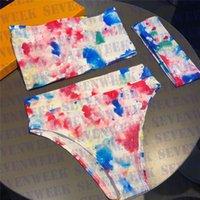 Clea de agua Carta para mujer Traje de baño Bikinis 3pcs Conjunto de cintura alta Señoras Split Sart Skill Traje de baño de la playa de verano con caja