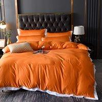 مجموعات الفراش الحرير الفاخرة إلكتروني التطريز مريحة السرير المعزون الربيع الصيف لينة المعزي غطاء الملك الحجم 200 * 230 سنتيمتر