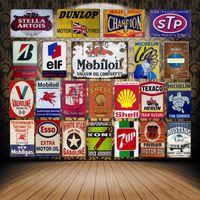 Vintage Mobil Motor Oil Tin Signs Metal Poster ELF STP Valvoline Auto Motorcycle Gasoline Garage Shop Wall Decoration Home Art OYSW