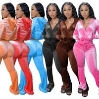 Women Velvet Tracksuits Hoodie Sport Solid Two Piece Pant Outfits Pink Velour Sweatsuits Zipper Pocket Long Sleeve Jacket + Bell Wid Leg