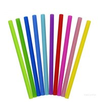Colorful Food Grade Flexible Silicone Straws Straight Bent Curved Straw Drinking StrawsReusable Bar Tools Beverage