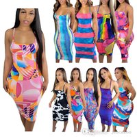 Women Midi Dresses Spring And Summer Printed Wedding Dress Thin Sling Half-length Skirt Plus Size Women Clothing
