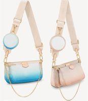 2021 Mujeres Lujitaciones Diseñadores Bolsas Para Mujer Gradiente Rampa Crossbody Bag Genuine Bolsos Bolsos Lady Tote Monedero Monedero Tres Artículo