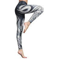 Pantaloni da yoga Stampa Mid Thigh Stretch Cotton Span Pantaloni a vita alta Allenamento Allenamento Gym Leggings Sport Donne Fitness Pantaloni sportivi # 40soccer
