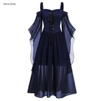Casual Dresses Vintage Medieval Robe Cosplay Costume Womne Plus Size Shoulder Butterfly Sleeve Lace Up Halloween Princess Dress #T1G