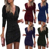여성 3D 디지털 스키니 드레스 패션 트렌드 긴 소매 V 넥 짧은 치마 여성 봄 새로운 캐주얼 슬림 엉덩이 나이트 클럽 드레스