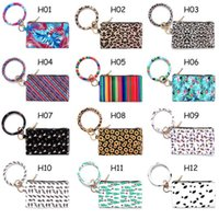 Jlw8 Key PU Wrist Keychain Leather Leopard Bag Ring Pendant Coin Purse Bracelets Handbag Round Lady Clutch Bracelet Wallet 20 Txhha