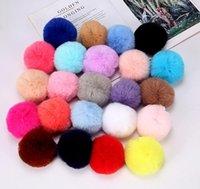 8cm Imitate Rabbit Fur Ball Keychain Pom Pom Car Handbag Keychains Decoration Fluffy Faux Key Ring Wholesale 23 colors