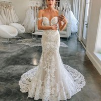Off the Shoulder Lace Mermaid Wedding Dresses with Short Sleeves Sweep Train Appliqued Lace-up Back Plus Size Bridal Gowns