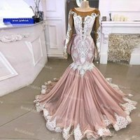 Long Sleeve Blush Pink Mermaid Wedding Dress 2021 With Beaded Lace Sheer Neck African Gothic Punk Bride Dresses Luxury Appliques Tulle Bridal Gowns Plus Size