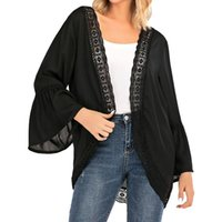 Women's Blouses & Shirts Spring And Summer Women Blouse Cardigan Lace Chiffon Long-sleeved Shirt Stitching Jacket Cover Transparent