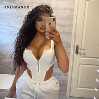 Anjamanor Sexy Bodysuit BodyCon Комбинезон 2020 Летний Клуб Фестиваль Фестиваль Одежда Front Zip Backblob High Cut Thong Body Counts D85-I84 D80S #