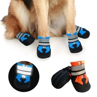 개 의류 4pcs 안티 슬립 방수 애완 동물 신발 겨울 스노우 부츠 양말 양말 따뜻한 보호 비트 커버