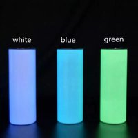Sublimation Tumbler Glow in The Dark Tumbler 20oz STRAIGHT Skinny Tumblers with Luminous Cup Magic Travel Cups CCA12670 SEA SHIPPING