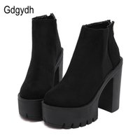 Gdgydh Fashion Black Ankle Boots For Women Thick Heels Spring Autumn Flock Platform Shoes High Heels Black Zipper Ladies Boots 211021