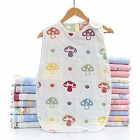 Sleeping Bag Cotton Six-layer Gauze Children's Baby Anti-kick Vest Infant Unisex Sleeveless Wearable Sack Blanket 210910