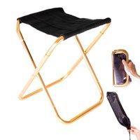 Camp mobiliário Ao ar livre Cadeira dobrável Portable Trein Stroles Pequenos Cadeiras 300G Al Mão Acampamento Vermelho Azul Laranja Cinza Preto