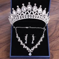 Earrings & Necklace Luxury Women Party Rhinestones Bridal Jewelry Sets For Prom Tiaras Wedding Hair Accessories Brides