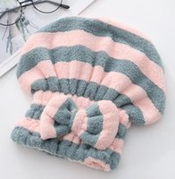 Quickly Dry Hair Hat Solid Bathing Drying Towel Soft Absorbent Thickened Quick-drying Headscarf Women Microfiber Bow Shower Capsw N0OD