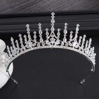 New bridal crown headdress geometric alloy zircon hairband wedding dress accessories