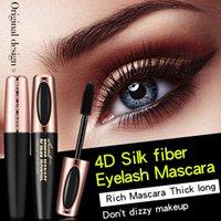 Negro 4D Fibra de seda Mascara impermeable a prueba de pestañas de alargamiento grueso rizado 3D Eyelash Profesional Eye Cosmetics