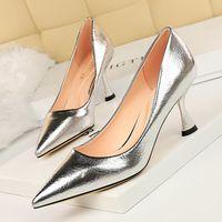 2021 المرأة الفاخرة 7 سنتيمتر الذهب والفضة رمادي عاكس عدن عالية الكعب براءات الاختراع مضخات أحذية الزفاف الرسمي زائد size43
