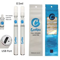Cookies Disposable Vape Pens Full Ceramic Vapes Cartridges 0.5ml Ceramic Coil Glass Tank Vape 290mAh Battery Snap on Oil Atomizer Rechargeable USB Port with bags
