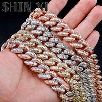 16mm Men's Cuban Chain T Square Diamond Hip Hop Gold Plated Necklace for Men Women