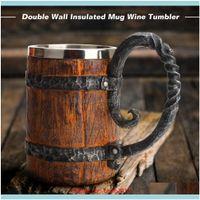 Mugs Drinkware Kitchen, Dining Bar Home & Gardensimulation Wood Style As Christmas Gift Big Drinking Mug Barrel Beer Cup Double Wall Metal I