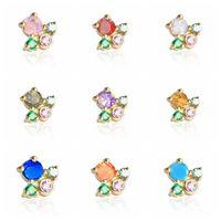 Stud CANNER 1PCS Earrings For Women 2021 Trend Ear Bone Piercing 925 Sterling Silver Mini Bling Colored Zircon Aretes
