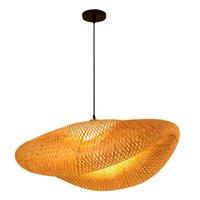 Çin Zen çay odası avize pot bambu dokuma lamba ışık kaynağı kolye lambaları