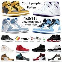حذاء كرة السلة للرجال من الجامعة الزرقاء 1S أسود تو داكن موكا 11 كونكورد 11S ولدت سبج لا يخوف 1 ساتان ثعبان للرجال والنساء أحذية رياضية رياضية إير جوردان 1 جوردان 11