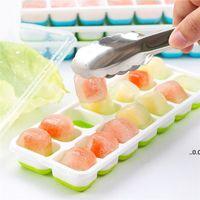 14 grade silicone quadrado caixas de gelo ferramentas de cozinha com tampa de gordura alimentar bandeja molde bebê caixa de suplemento fwf7467