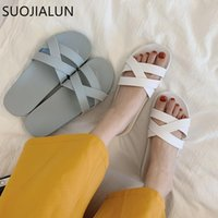Slippers SUOJIALUN Women Summer Outdoor Beach Slides Slip On Casual Non-Slip Flip Flop Vacation Sandals